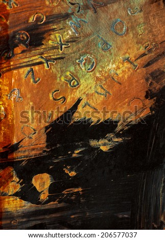 abstract weathered distressed grunge basrelief wall structures, beautiful detail, vivid colors on black