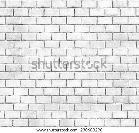 Abstract weathered seamless texture stained old stucco light gray and aged paint white brick wall background in rural room, grungy rusty blocks of stonework technology / High resolution white brick - stock photo