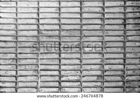 Abstract weathered texture of stained old stucco light gray and paint white brick wall background