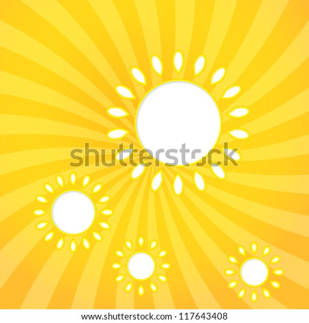 Abstract web design background with sun with sun rays. (Raster version) - stock photo
