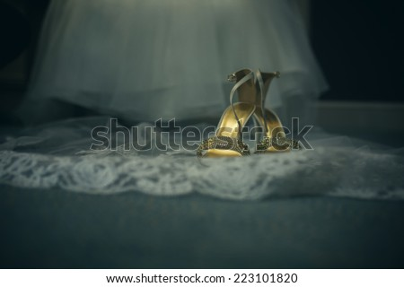 Abstract wedding dress and shoes - stock photo
