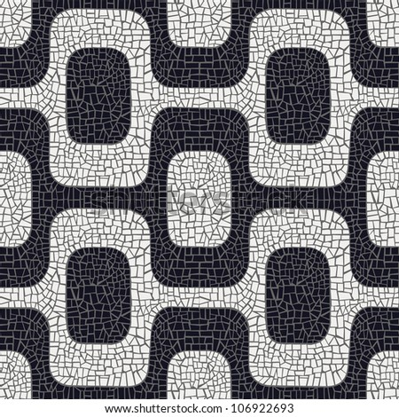 Abstract white and black wave pavement pattern background.