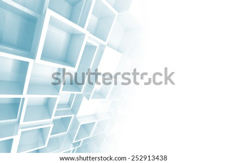 Abstract white and blue 3d background with relief cube pattern on the wall and blank copy space  - stock photo