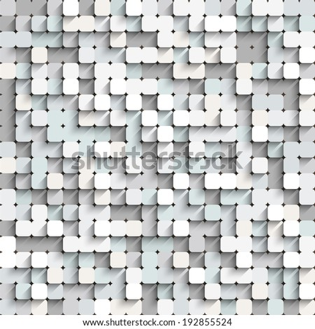 Abstract white and gray background with mosaic. Seamless digital pattern of squares.  - stock photo