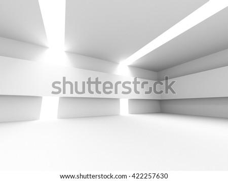 Abstract white architecture background. Empty futuristic interior. 3d render illustration - stock photo