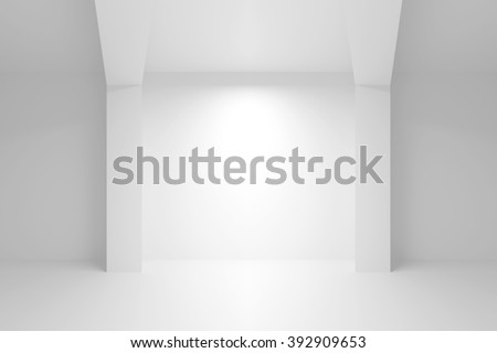 Abstract white architecture background. Empty interior with light niche. 3d illustration