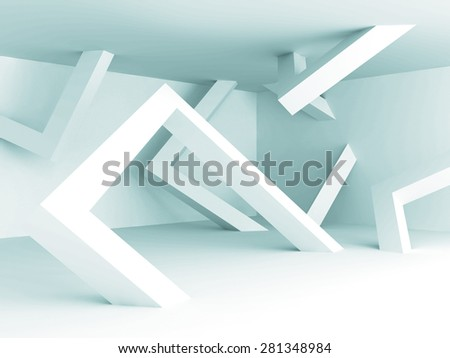 Abstract White Architecture Empty Interior Background. 3d Render Illustration - stock photo