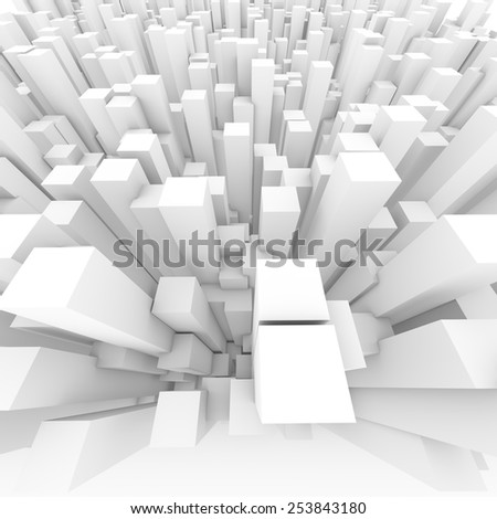 Abstract white background of 3d blocks - stock photo