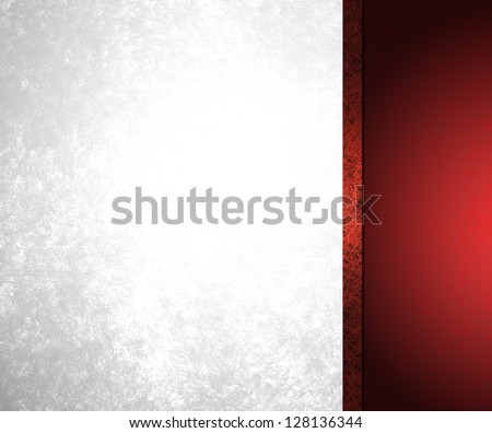 abstract white background red stripe or sidebar with red black ribbon design layout, vintage grunge background texture, frosty silver background, elegant Christmas or formal holiday background, luxury - stock photo