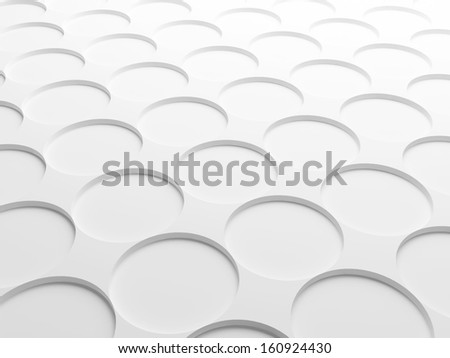 Abstract white background texture with round elements pattern. 3d illustration - stock photo
