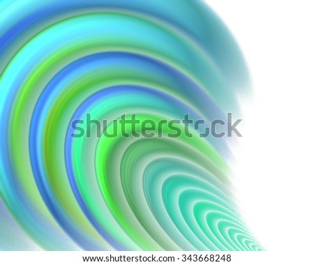 Abstract white background with green, blue and turquoise colored pleats or waves texture, fractal - stock photo