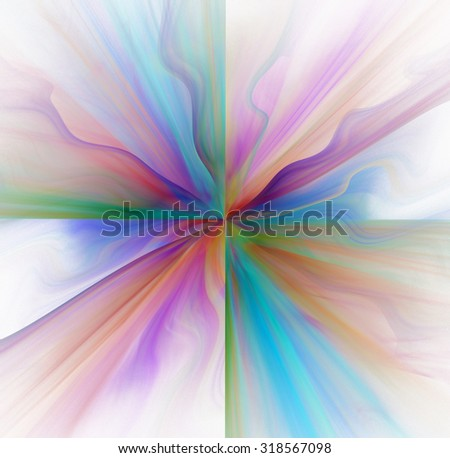 Abstract white background with rainbow - red and blue - color flower or rays in the center texture, fractal - stock photo