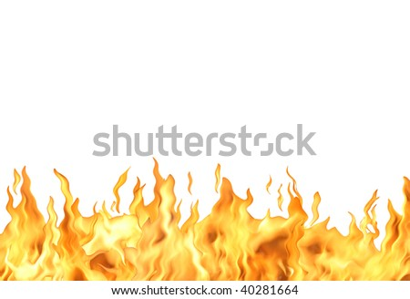 Abstract white background with single fire flame isolated with clipping path