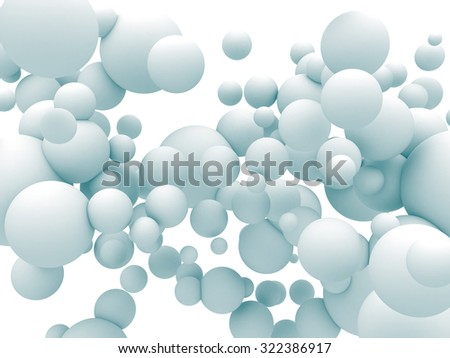 Abstract White Chaotic Spheres Particles Background. 3d Render Illustration