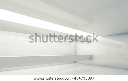 Abstract white contemporary interior, empty room with beams and soft illumination. Digital 3d illustration, computer graphic