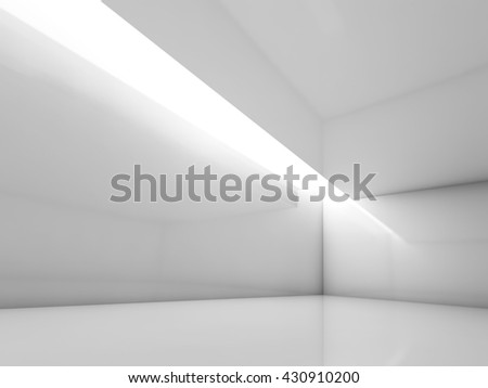 Abstract white contemporary interior, empty room with decorative ceiling illumination. Digital 3d illustration, computer graphic