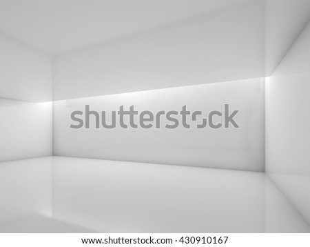 Abstract white contemporary interior, empty room with glossy walls and ceiling illumination. Digital 3d illustration, computer graphic