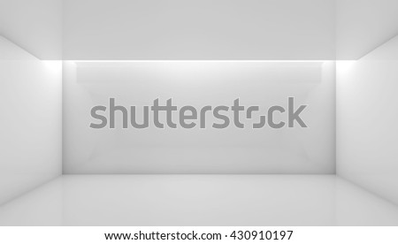 Abstract white contemporary interior, front view of an empty room with soft ceiling illumination. Digital 3d illustration, computer graphic