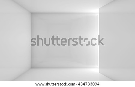 Abstract white contemporary interior, front view of an empty room with soft illumination. Digital 3d illustration, computer graphic