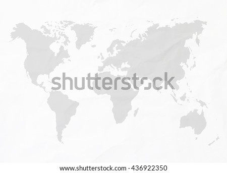 Abstract white crumpled paper or recycle paper for backgrounds with world map in black tone  - stock photo