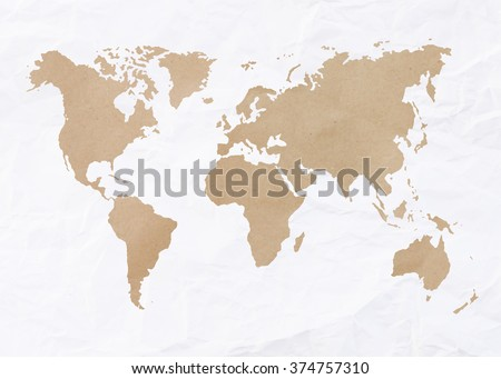 Vintage world map detailed vector illustration vectores en stock abstract white crumpled paper or recycle paper for backgrounds with world map in brown recycle paper gumiabroncs Gallery