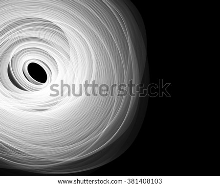 Abstract white curves on black background