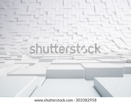 Abstract white 3d blocks background - stock photo