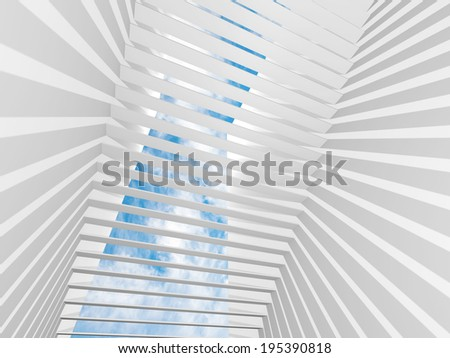 Abstract white 3d interior background with light beams and blue sky