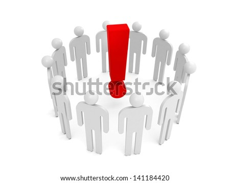 Abstract white 3d people stand in one circle with big red exclamation sign inside
