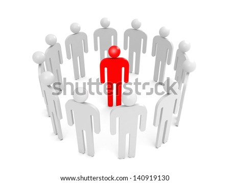 Abstract white 3d people stand in ring with one red person inside. Condemnation illustration concept - stock photo