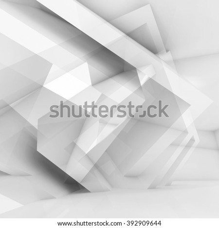 Abstract white digital background with chaotic geometric structures, square 3d illustration, multi exposure effect - stock photo