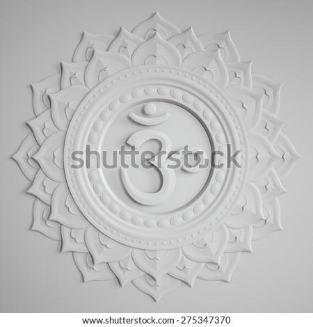 abstract white embossed paper Sahasrara chakra symbol, 3d modern illustration - stock photo