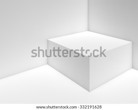 Abstract white empty interior background with box in a corner, soft illumination. 3d illustration - stock photo