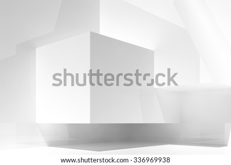 Abstract white empty interior background with chaotic geometric shapes in a corner and soft illumination, 3d illustration - stock photo