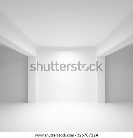 Abstract white empty interior background with soft illumination, 3d illustration, frontal view - stock photo