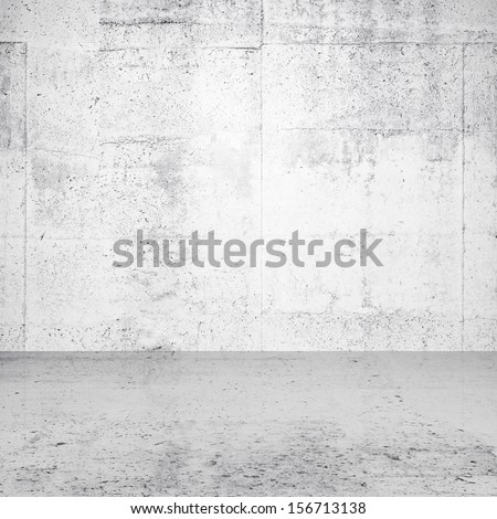 Abstract white empty interior with concrete wall and floor - stock photo