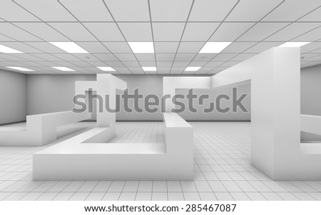 Abstract white empty office interior with chaotic geometric construction, 3d illustration