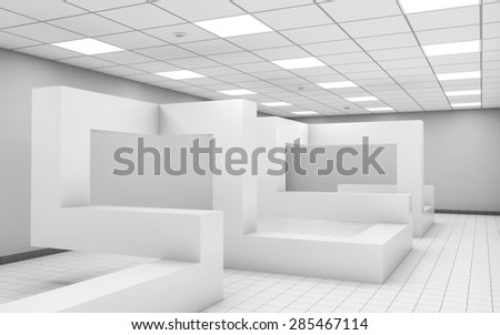 Abstract white empty office room interior with chaotic geometric construction, 3d illustration