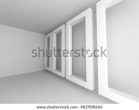 Abstract White Empty Room Background. 3d Render Illustration
