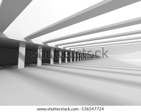 Abstract White Futuristic Modern Architecture Background. 3d Render Illustration