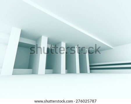 Abstract White Interior Empty Hall Background. 3d Render Illustration