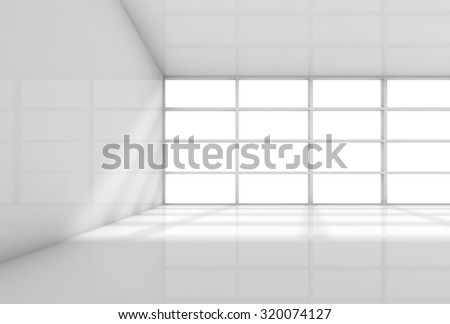 Abstract white interior, empty office room with daylight from the window. 3d render illustration