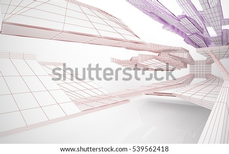 Abstract white interior highlights future. Polygon colored drawing. Architectural background. 3D illustration and rendering