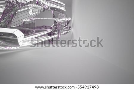 Abstract white interior highlights future. Polygon drawing with glass. Architectural background. 3D illustration and rendering