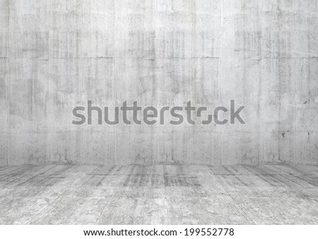 Abstract white interior of empty room with concrete wall and floor - stock photo