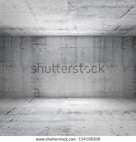 Abstract white interior of empty room with concrete walls - stock photo