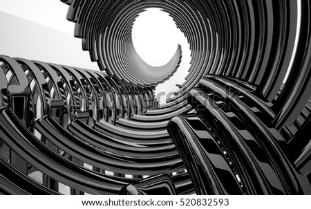 Abstract white interior of the future in a minimalist style, consisting of structure black arcs.. Architectural background. 3D illustration. 3D rendering