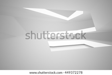 Abstract white interior of the future, with neon lighting. 3D illustration. 3D rendering