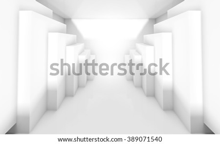 Abstract white interior perspective with cubes installation along walls. Empty architecture background, 3d illustration