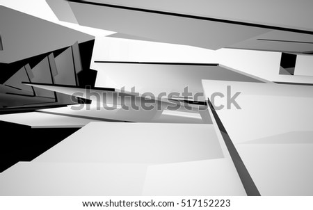 Abstract white interior with black glossy lines. 3D illustration and rendering